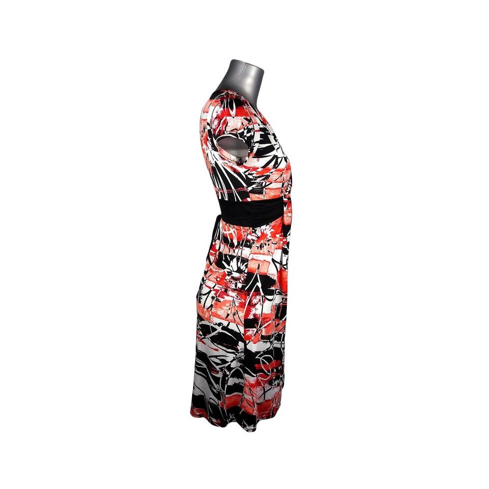 Robe r tro motif fleurs abstrait rouge corail noir et blanc m 39 elle boutique - Motif noir et blanc ...