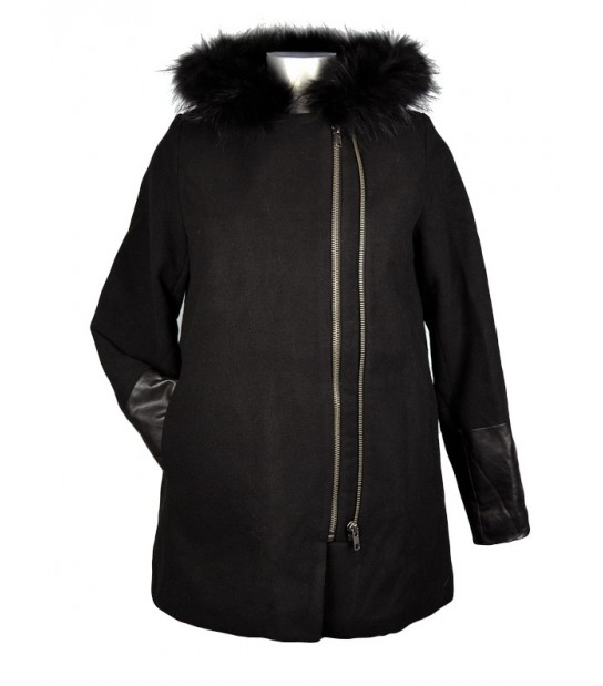 Manteau trapèze noir double zip