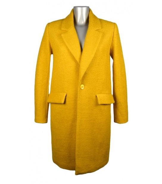 Manteau laine jaune coupe droite col revers