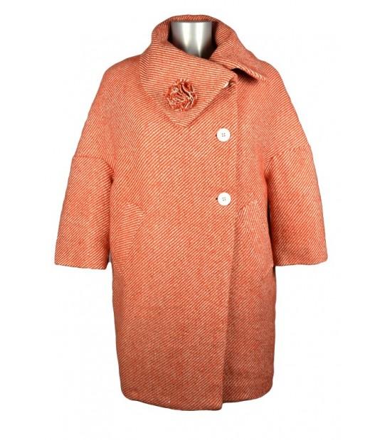 Manteau oversize col boule laine chiné orange