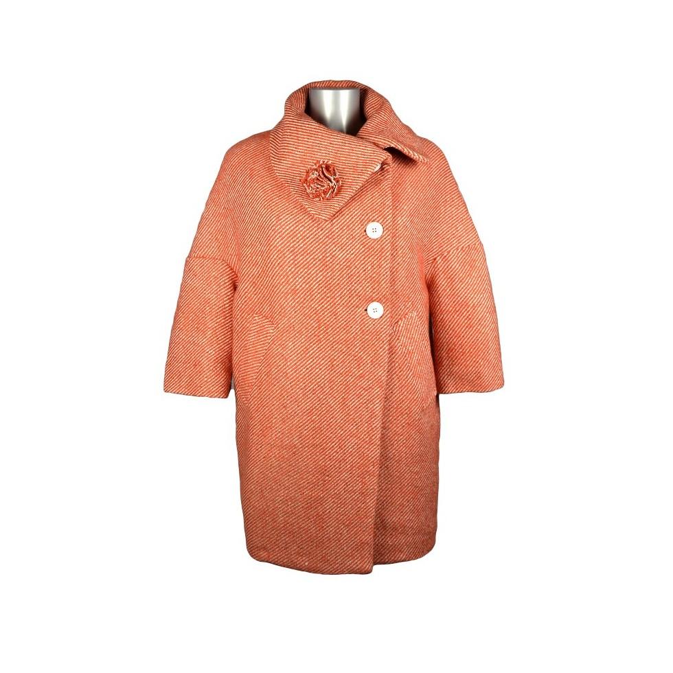 manteau oversize col boule laine chin orange m 39 elle boutique. Black Bedroom Furniture Sets. Home Design Ideas