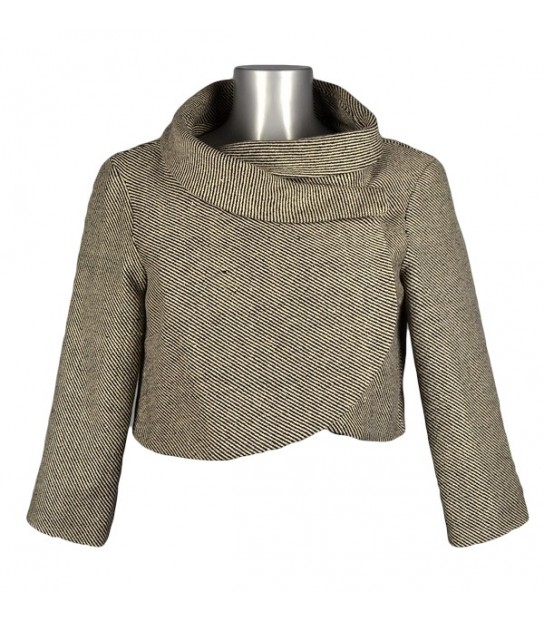 Manteau court gris chiné col boule