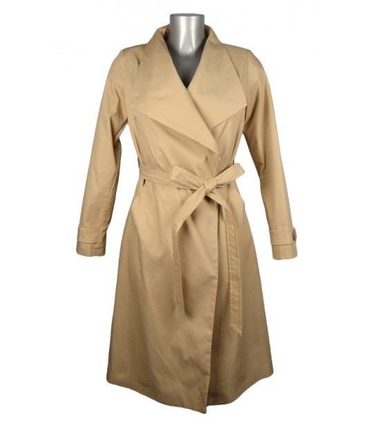 Trench long grand col beige