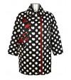 Manteau oversize noir pois blancs fleurs rouges brodées