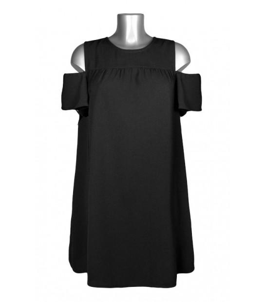 Robe trapèze ample épaules dénudées noir