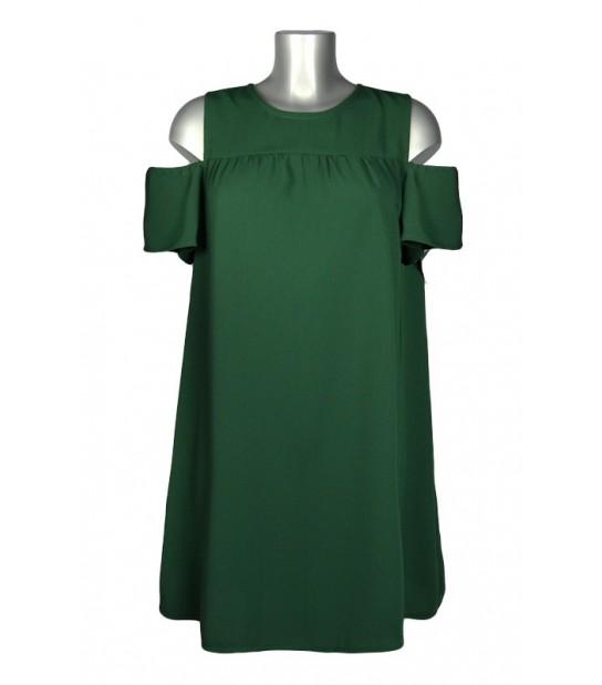 Robe trapèze ample épaules dénudées vert foncé
