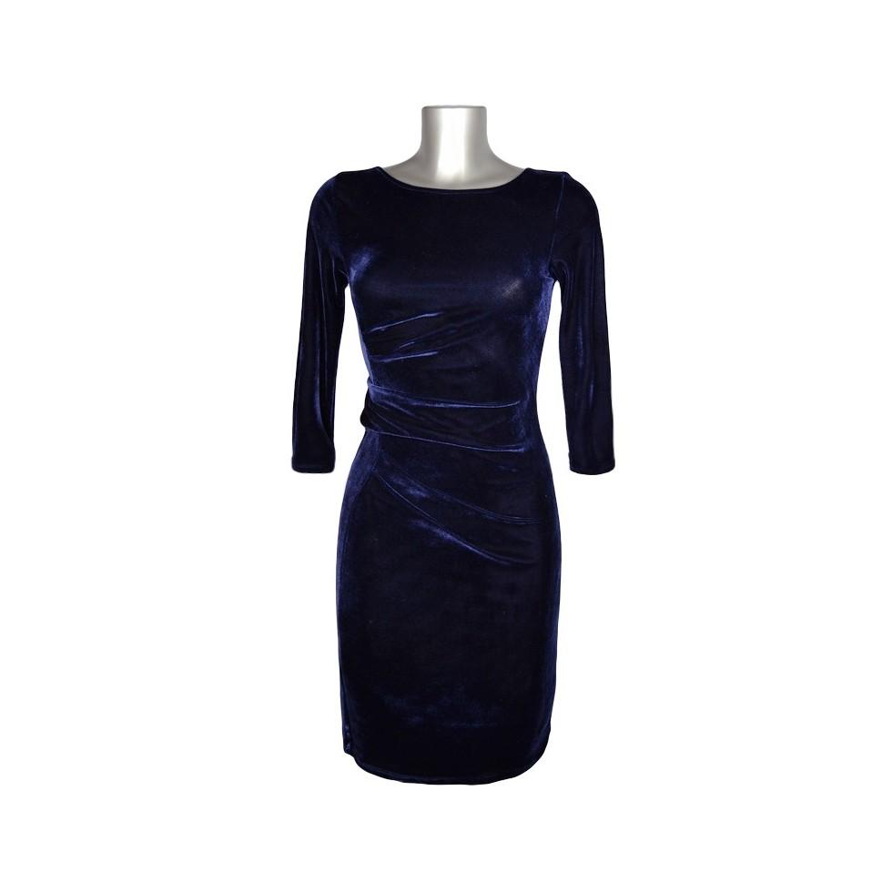 robe taille drap e velours bleu fonc m 39 elle boutique. Black Bedroom Furniture Sets. Home Design Ideas