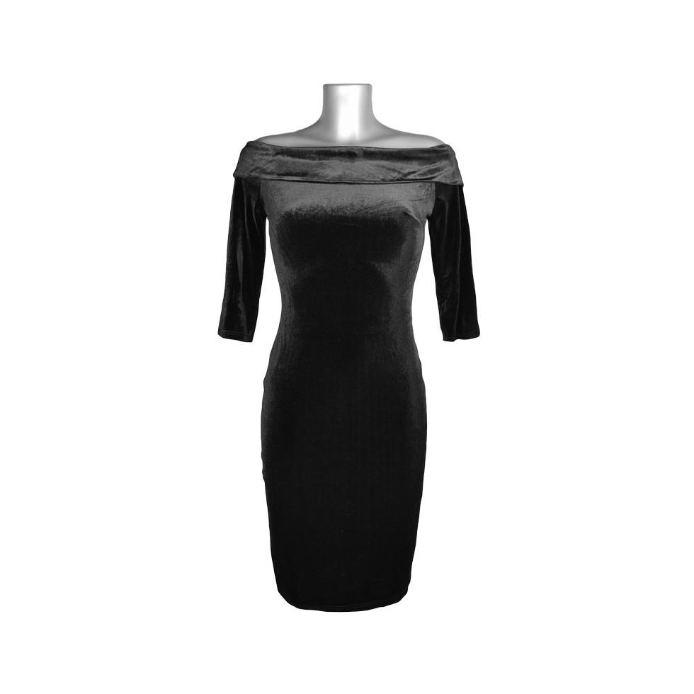 robe crayon col bateau velours noir m 39 elle boutique. Black Bedroom Furniture Sets. Home Design Ideas