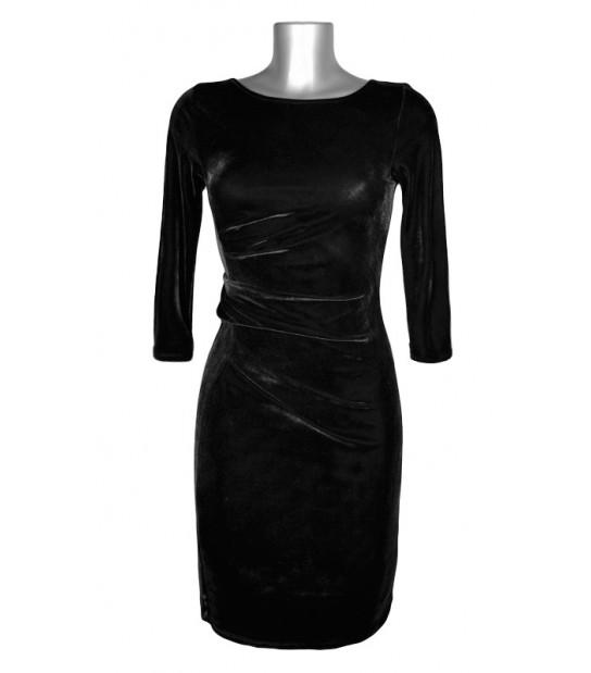 Robe taille drapée velours noir