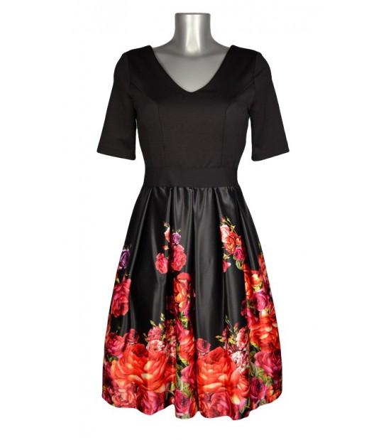 Robe évasée haut noir bas satin noir dégradé fleurs rouges