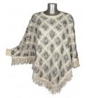 Cape style tricot beige losanges gris