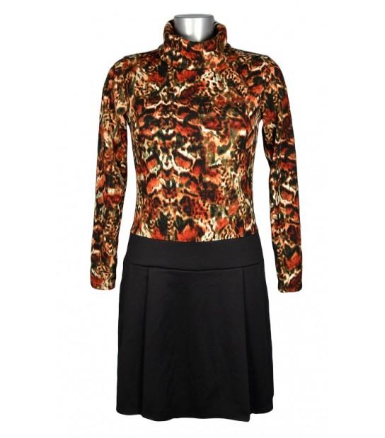 Robe esprit 60's motif abstrait orange bas noir
