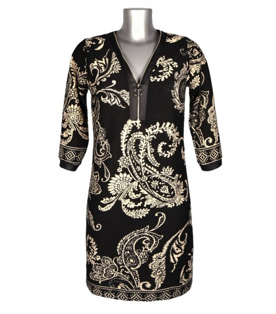 Robe droite col zippé noir motif baroque beige