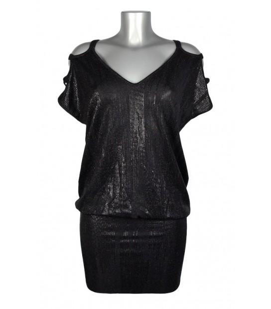 Robe tunique lanières épaules noir brillant