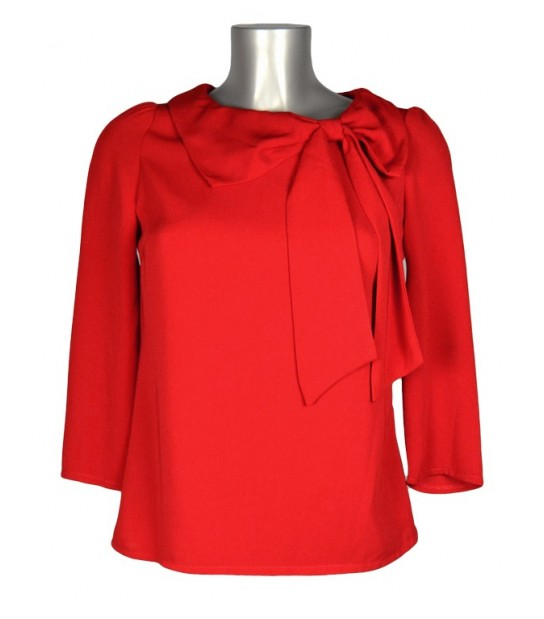 Haut blouse rouge uni col noeud