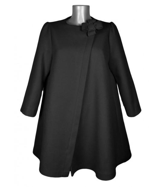 Manteau évasé col fleur feutrine noir
